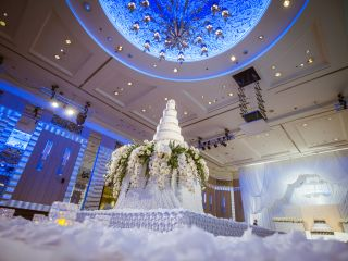Beautiful Wedding cake in the Wedding Venue of the InterContinental Bangkok